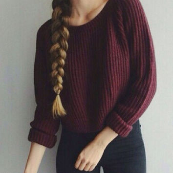 Pullover Stylish Wine Red Knit Sweater [6372873604]