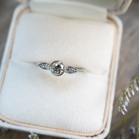 Winged Vintage Diamond Ring with Knife Edge Band