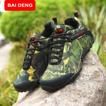 BAIDENG New Outdoor Fun & Sports Mountain Trekking Shoes Hunting Boots Leather Waterproof Hiking Shoes Men Boot 8068