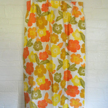 Yellow Curtain Panel Orange Curtain Floral Curtain 60s Decor Yellow Decor Pinch Pleat Curtain 70s Curtain 1970s Living Room Curtain Window