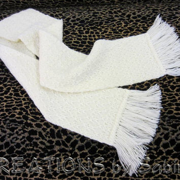 Vintage Scarf with Fringes, Off White, Ecru, soft, double layer, tube, fall autumn warm, thoughtful gift winter season seasons FREE SHIPPING