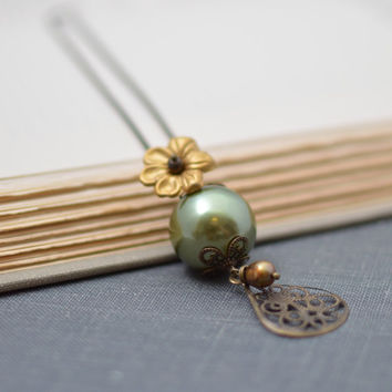 Large Forest Green Pearl Necklace with Gold Flower, Gold Pearl and Antiqued Brass Filigree on Ball Chain Handmade Necklace Boho Necklace