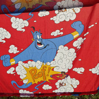 Vintage Disney's Aladdin / Genie  Character / Twin Flat Sheet / Fabric  Cotton