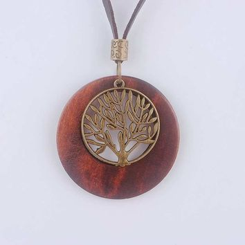Life Tree Wooden Pendant Necklace