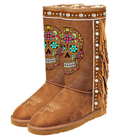 Mardi Gras Rhinestone Sugar Skull Collection Shearling Brown Tall Boots