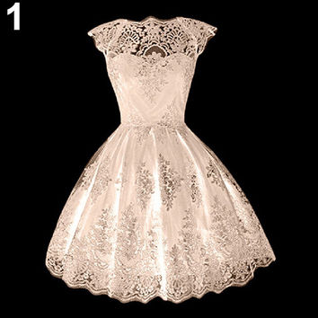 Girls' Retro Gothic Hollow Lace Waisted Cocktail Party Prom Flare Pouf Dress