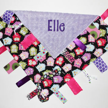 PERSONALIZED Baby Girl Owls Ribbon Tag Sensory Blanket With Pacifier Leash Large 16 x 16 Lavender Minky
