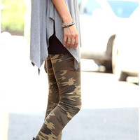 Aoki Fashion - Winter Army Style Thicken Fleece Flocking Warm Slim Leggings Pants Camouflage
