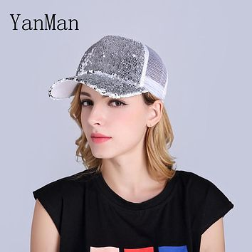 YanMan 2017 Women Baseball Cap Fashion BlingBling Paillette Sequin Girl Women Summer Hat Nets Ventilated Snapback Caps Sun hats