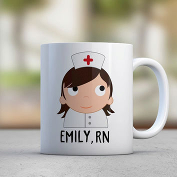 Nurse Gift Female Nurse Hospital Healthy Custom Illustration Graduation Gift Birthday Gift Girlfriend Gift Red Cross Cute Coffee Mugs