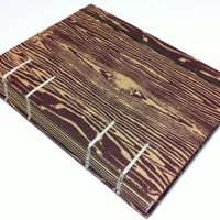 Brown Woodgrain Fabric Journal Notebook - Handmade Coptic Stitched - Lined