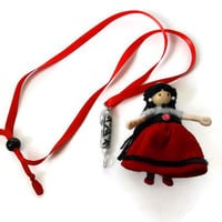 Isabella, Ethnic, Spanish BENDY DOLL and NECKLACE, Unique, Waldorf inspired, red, handcrafted,miniature doll, whimsical gift, toy, jewelry,