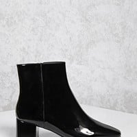 Patent Faux Leather Ankle Boots