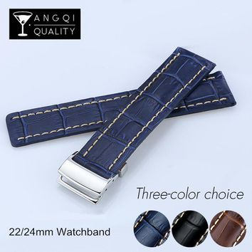 22MM 24MM Genuine Cow Leather Watch Band For Breitling WatchStrap For Avenger Series Watchband Bracelet Man Accessory Black Blue