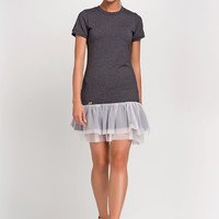 Summer Sport Dark Grey Dress Wiht Mash Frill
