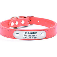 Leather Dog Collar with Laser Engraved Personalized Nameplate - SALMON