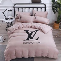 Fashion LV LOUIS VUITTON Blanket Quilt coverlet Pillow shams 4 PC Bedding Set