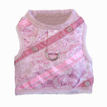 Pink Brocade Plush Minky Harness with Leah