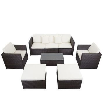 8 PCS Outdoor Patio Sofa Sectional Furniture PE Wicker Rattan Deck Couch F16