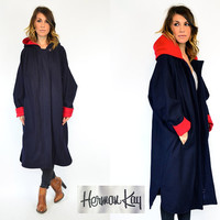 avant garde COCOON cherry NAVY & red modern BATWING cape coat, extra small-small