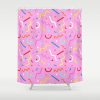 Squiggle 90s Shower Curtain,  abstract eighties pattern - saved by the bell style - 80s geometric shapes - pink bathroom decor