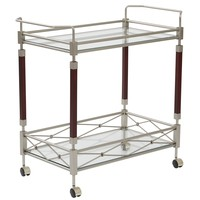 Office Star Nickel Brush Metal/Walnut Finish Wood Melrose Serving Cart
