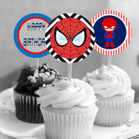 PRINTED - Spiderman Superhero Cupcake Toppers!  -  Theme Birthday Party
