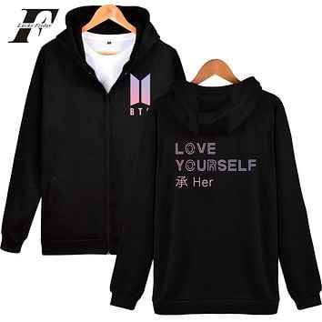 LUCKYFRIDAYF BTS Love Yourself New Album Zipper Harajuku Hoodies Women Winter Bangtan Kpop Sweatshirt Women Hoodies Zipper Cloth