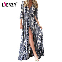 LIENZY Summer Elegant Women Long Dress Deep V Neck Long Sleeve Blue Print Loose Vintage Boho Maxi Dresses For Women