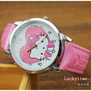 Hot Sale Fashion Cartoon Watch Hello Kitty Watches for Girls Kid Children Casual  dial Quartz Wristwatches Reloj