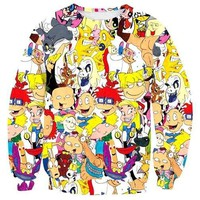Hey Arnold Rugrats Tom Jerry 90's Cartoon Collage Print Sweatshirt