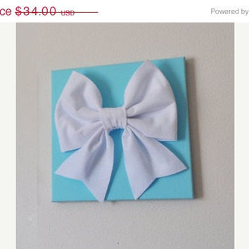 "MOTHERS DAY SALE Large White Bow on Bright Aqua 12 x12"" Canvas Wall Art- Baby Nursery Wall Decor-"