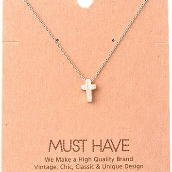 Must Have-Small Cross Necklace, Rose Gold
