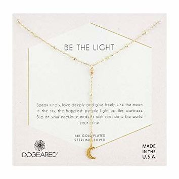 Dogeared Be The Light, Sparkle Crescent Y-Necklace