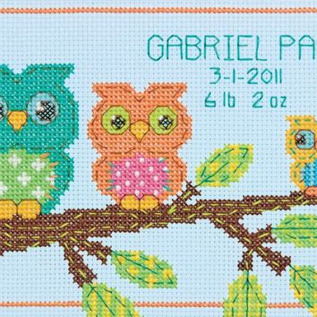 "Owl Birth Record (14 Count) Dimensions Mini Counted Cross Stitch Kit 7""X5"""