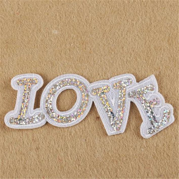 Hot sale women/men/boy/girl clothes embroidery letter patch fashion sequins love badge iron on patches for clothing stick fabric