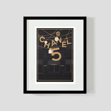 Set of prints - chanel art - paris print - rue cambon 31 - chanel posters - fashion poster - original illustration