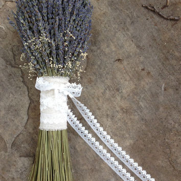Rustic Wedding Bouquet- Lavender Bouquet, Baby's Breath Bouquet, Twine, Natural Linen Fabric and Lace Ribbon