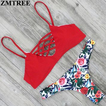 ZMTREE Cross Bikini Floral Printed Swimsuit Women Sexy Bikini Set Bandage Swimwear Summer Beach Bathing Suit 2017 Swimming Suit