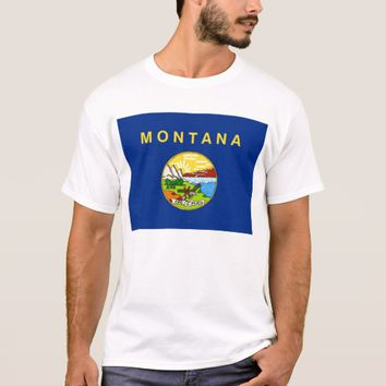 T Shirt with Flag of Montana State USA