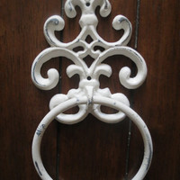 Shabby Chic Towel Ring/Antique White Towel Hanger/Heavy Cast Iron Towel Hook/Shabby Chic Bathroom/ Fleur de Lis design