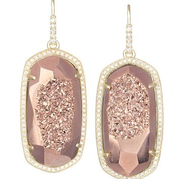 Ellen Drop Earrings in Rose Gold Drusy - Kendra Scott Jewelry