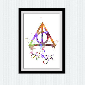 Harry Potter always colorful print Always Harry Potter poster Always watercolor art Home decoration Kids room decor Wall hanging poster W380