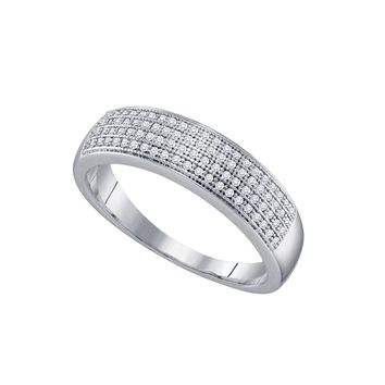 10kt White Gold Mens Round Pave-set Diamond Wedding Band Ring 1/4 Cttw