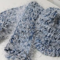 Knitted Scarf and Hat Blue Denim Blues Yarn and white eyelash yarn