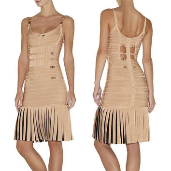Women's Fashion Sexy Spaghetti Strap Hollow Out Metal Tassels Bandages Prom Dress One Piece Dress [4919868356]