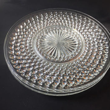 Clear Hobnail Glass Dinner Plates, Anchor Hocking Set of 4 Vintage Hobnail Glass Plates