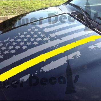 Distressed American Flag Thin Yellow Line Hood Decal Army, Fits Jeeps and Trucks