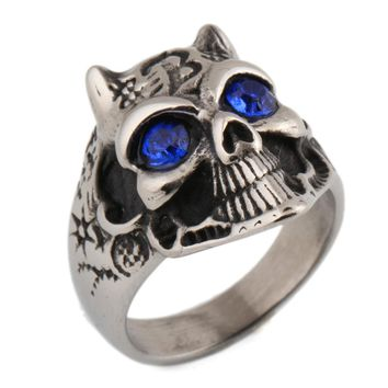 Man Rings animal head Panther Stainless Steel inlaid rhinestone Stone CZ Crystal ring for Men