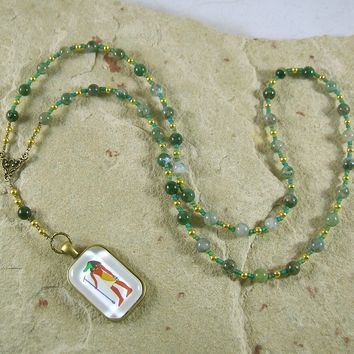 Sobek Prayer Bead Necklace in Moss Agate: Egyptian God of Fertility, Protection